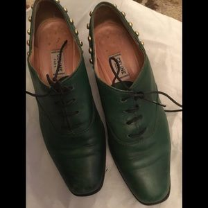 Green leather  lace loafers